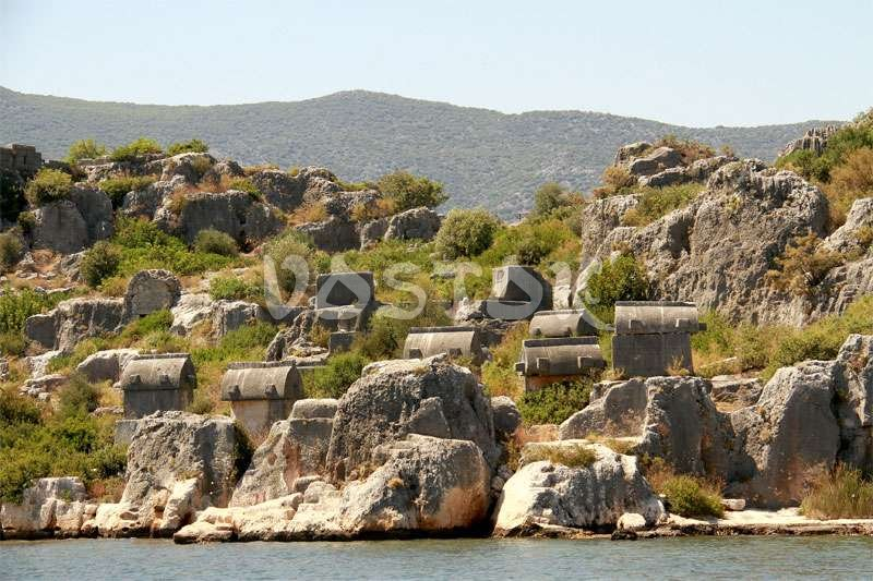 Ancient Lycian sarcophagi at Kekova Island