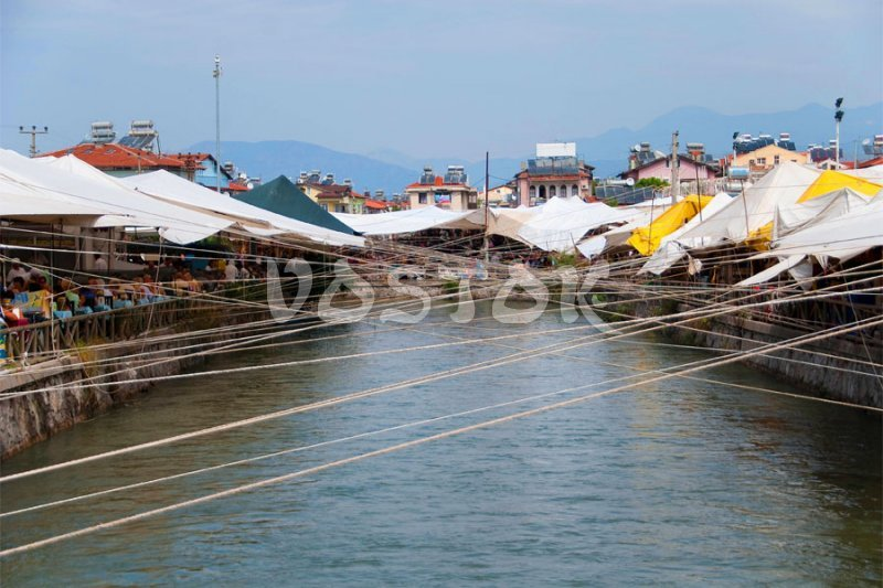 Water channel is dividing Fethiye market for two sides