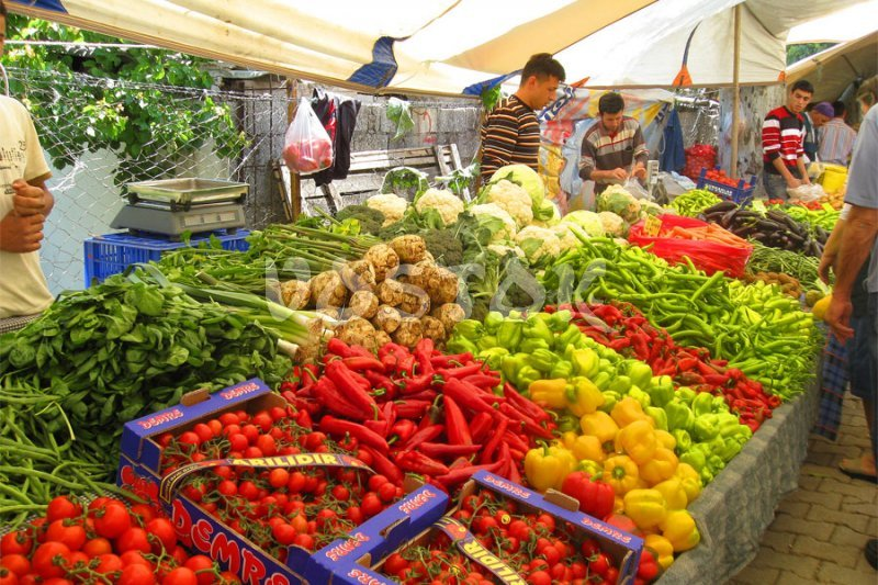 Great variety of vegetables and fruits of perfect quality at Fethiye Tuesday market