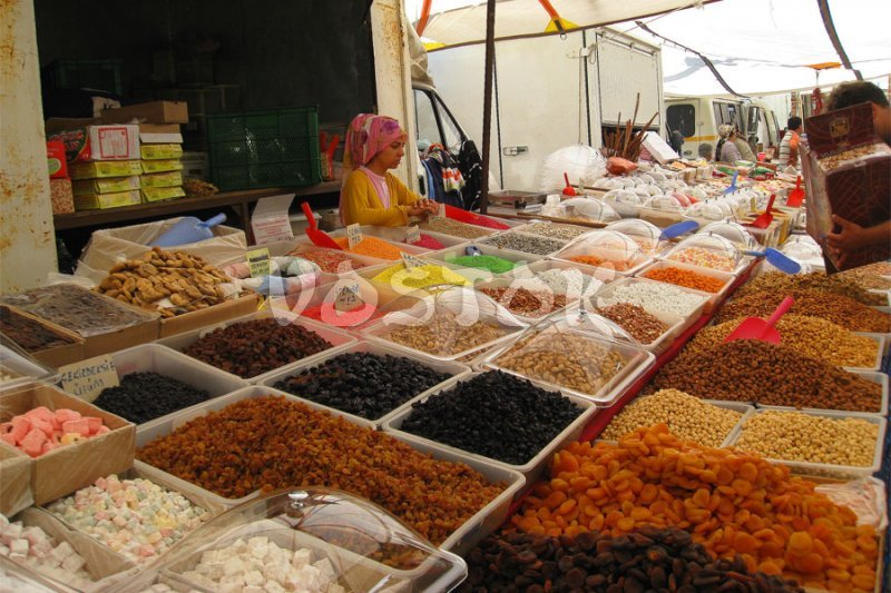 Dried fruits and nuts at the market in Fethiye Turkey
