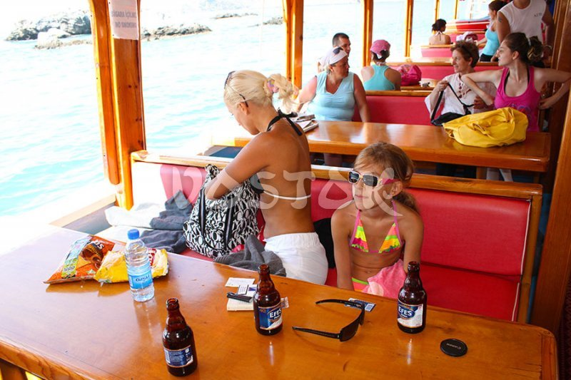 Lower deck of Oludeniz boat - time to have a drink