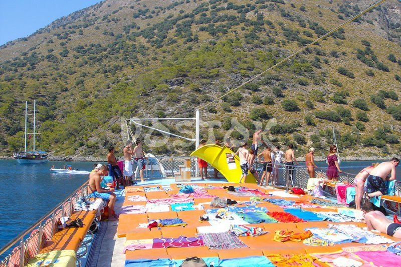 Upper deck of Oludeniz boat - perfect place for sunbathing