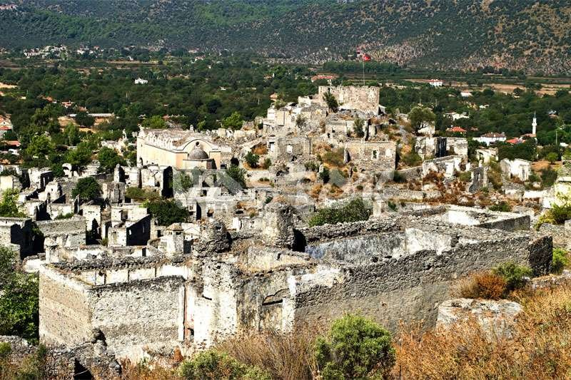 Abandoned Greek houses in Kayakoy Turkey