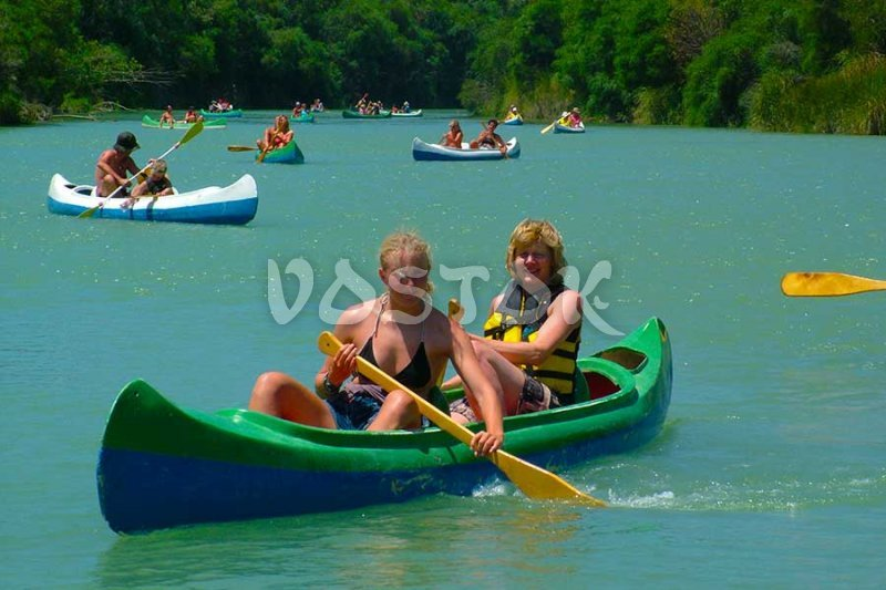 Ladies handle canoe without any problems