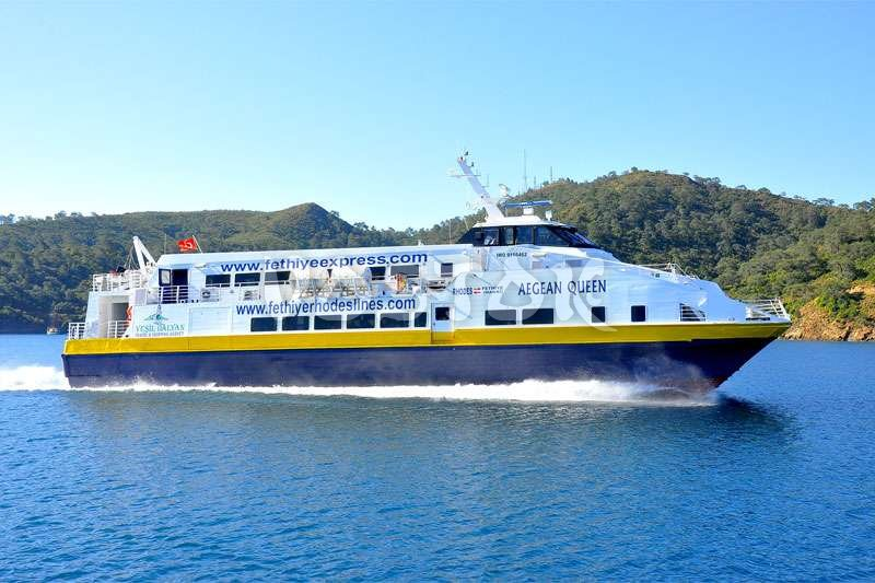 Ferry boat heading from Fethiye Turkey to Rhodes Greece