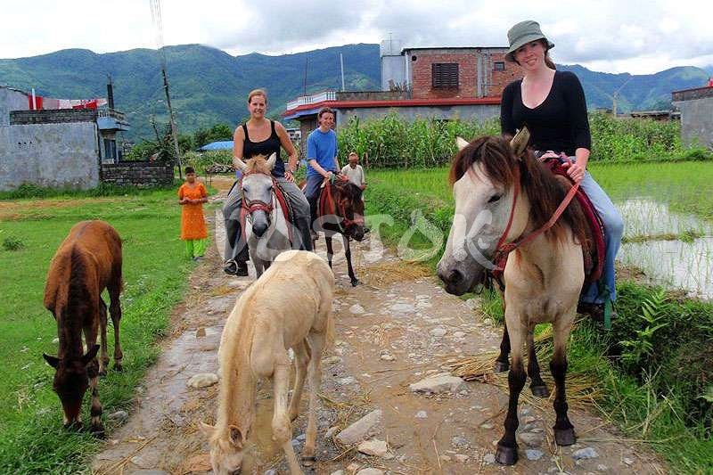 Beginning of horse ride in Kayakoy village
