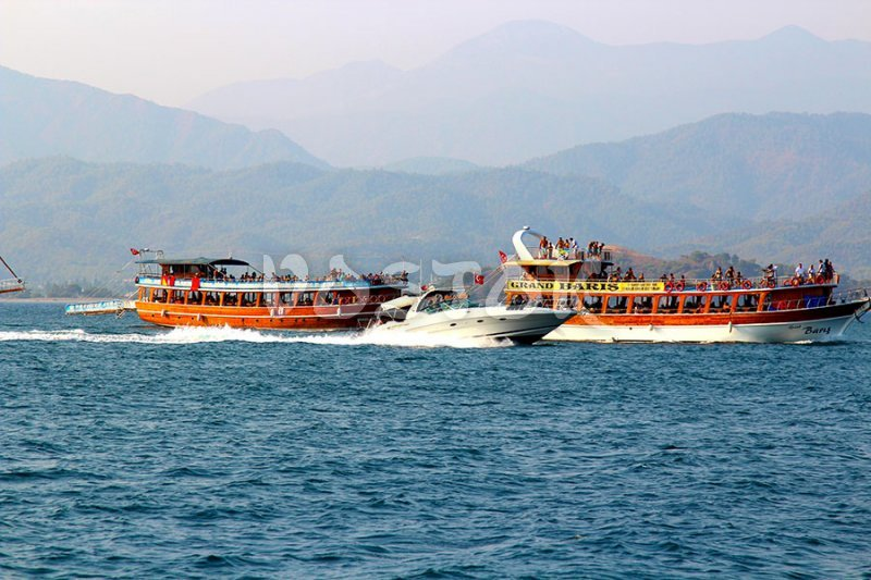 Boats are coming back to Fethiye harbor from 12 Islands Boat Trip