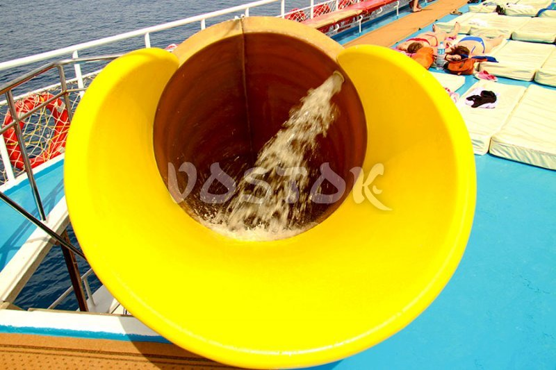 Some boats are equipped with water slides