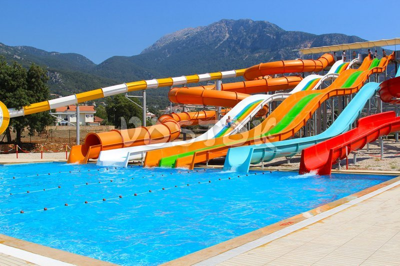 Swimming pool and slides