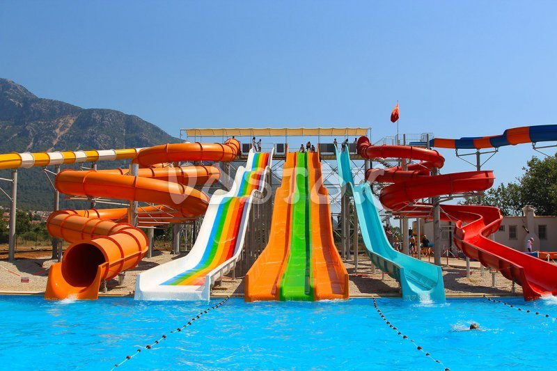 View on swimming pool and some slides