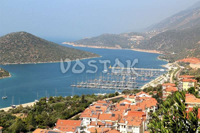 View to Kalkan city and marina