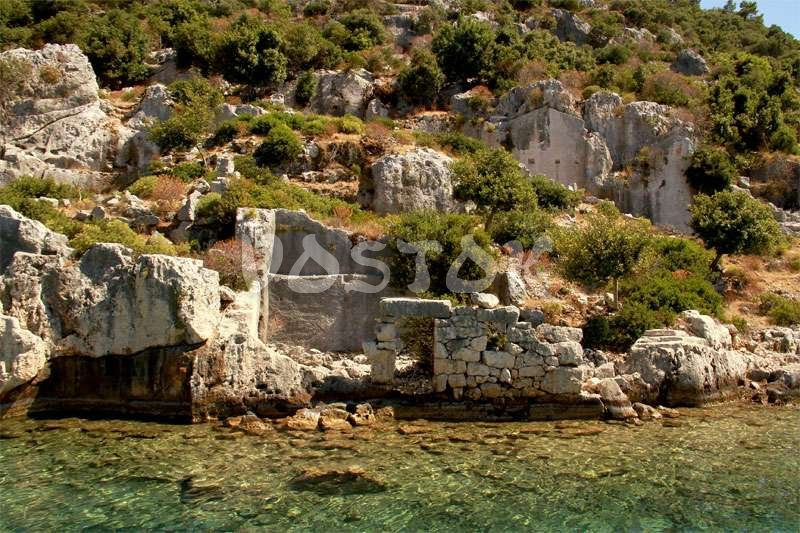 Remains of sunken city at Kekova Island
